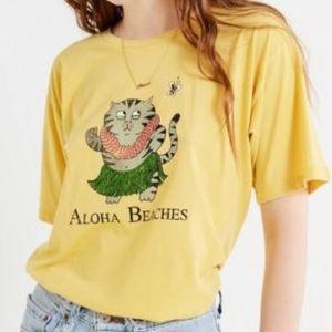 Future State x UO Hello Beaches Yellow Cat Shirt